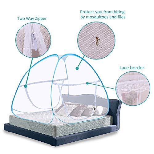 Moustiquaire ciel de lit Pop Up pliable double porte facile à installer avec fond anti Mosquito Bites pour lit Camping Voyage Home extérieur Bleu (King size, 180 * 200 * 150 cm)- 2 Ans de Garantie