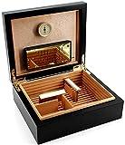 ADORINI Humidor Torino - Deluxe en negro - higrómetro de cabello de alta precisión para almacenar 30 puros - caja de puros para regular la humedad