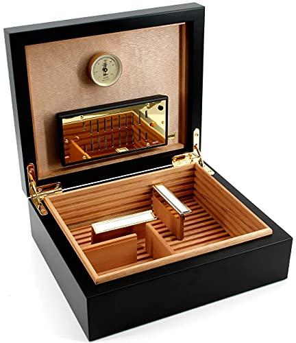 ADORINI Humidor Torino - Deluxe in nero | igrometro a capello ad alta precisione per la conservazione di 30 sigari | scatola di sigari per regolare l'umidità.