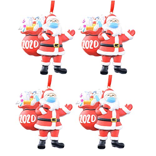 2020 Santa Claus Keepsake Ornament, Personalized Santa Claus Wearing_Mask with lots of Hand Sanitizer, Quarantine Christmas Ornament 2020 Version, Home Decor for Family (A 4pcs)