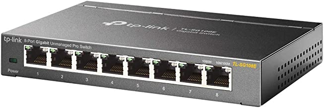 TP-Link 8-Port Gigabit Ethernet Easy Smart Switch | Unmanaged Pro | Plug and Play | Desktop | Sturdy Metal w/Shielded Ports | Limited Lifetime Replacement (TL-SG108E)
