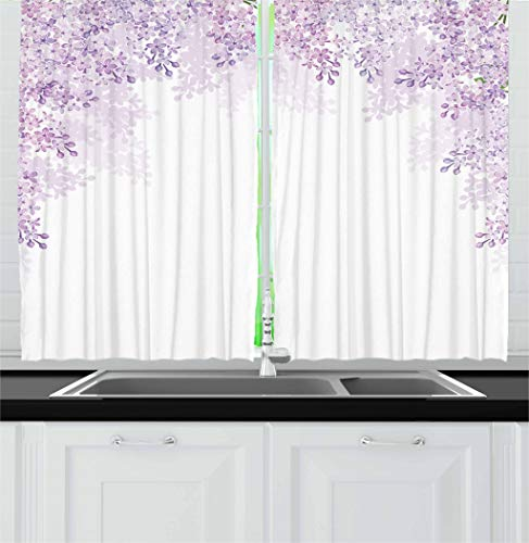 """Ambesonne Flower Kitchen Curtains, Framing Lilac Flowers in Blossom Vernal Season Soothing Color Shades, Window Drapes 2 Panel Set for Kitchen Cafe Decor, 55"""" X 39"""", Lavender White"""