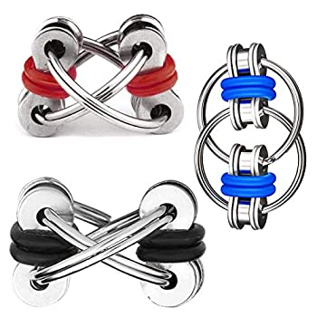 DBlosp Fidget Toy Flippy Chain Stress Anxiety Relief Chain ADHD and ADD Anxiety Relief Bike Chain Toys for Adults and Teens (3 Pack)