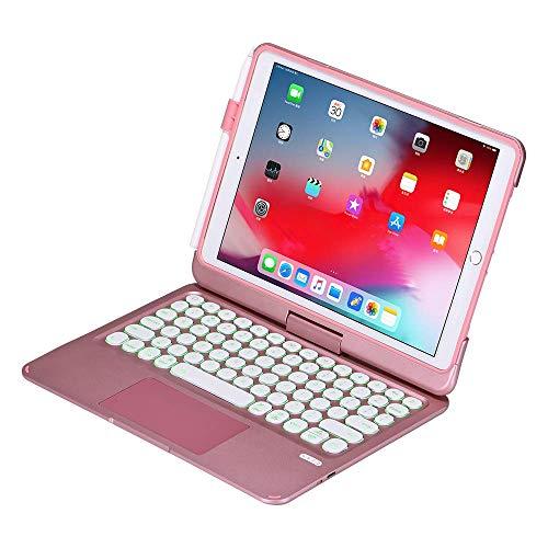 Funda con teclado para iPad 9.7 iPad 2018 (6ª generación), iPad 2017 (5ª generación), iPad Pro 9.7, iPad Air 2&1-360⁰ giratoria, retroiluminación de 7 colores, teclado para iPad OS (9.7,or