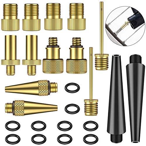 NATUICE 24 Stück Kupfer Fahrradventil Adapter Set, AV DV SV Fahrrad Ventiladapter Zubehör, Autoventil, Ventil für Fahrradpumpe, für Kompressor, Luftpumpe, Kugelpumpe, Zubehör für Fahrradpumpen