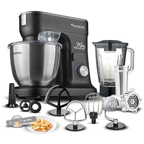 Multifunktions-Küchenmaschine inkl. Standmixer & Fleischwolf, Rühr- Knetmaschine, Teigkneter, 6.5 Liter Edelstahlschüssel