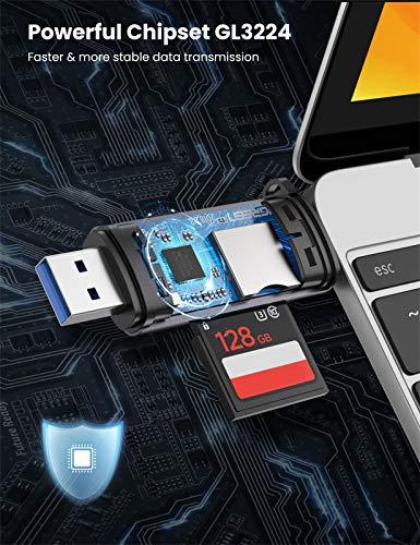 UGREEN USB C Kartenleser USB 3.0 Card Reader SD Micro SD Adapter auf USB-C Kartenlesegerät USB Typ C kompatibel mit Thunderbolt 3 für MacBook Pro, iPad Pro 2018, Samsung S20/S10, A51, Huawei P30 usw