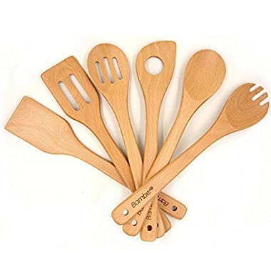 Bamber Wooden 6 Piece Cooking Utensils, Wood Tool and Gadget Set, Wooden Cooking Spoons, Wood Kitchen Tools Set