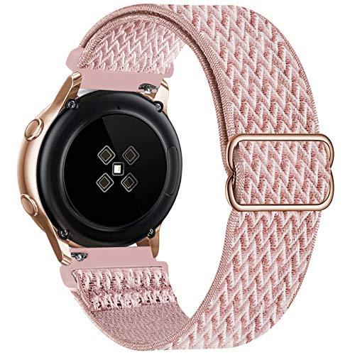 GBPOOT 20mm Correa Compatible con Samsung Galaxy Watch Active 2(40mm/44mm)/Watch 3 41mm/Watch 42mm/Gear S2,Reloj Ajustable de Repuesto Deporte Strap,Pulsera Nylon Banda,Rose Pink,20mm