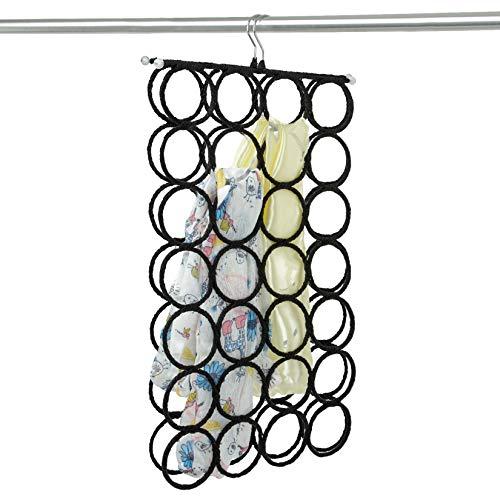 DOIOWN Scarf Hangers Ties Organizer Hangers Racks Space Saving Hangers Closet Organizer Black