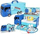 Modelo Coche de juguete, 2 en 1 sistema portable de múltiples funciones de la deformación del coche camión transportador con la caja de almacenamiento portátil Simulación de luz y sonido Médico Ambula