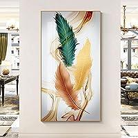 """モダンポスター明るいゴールデングリーンのキャンバス絵画羽壁の写真リビングルームアートHD家の装飾19.6""""x39.4""""(50x100cm)フレームレス"""