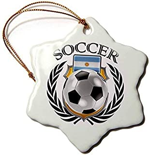 Mesllings Carsten Reisinger - Illustrations - Argentina Soccer Ball with Fan Crest - Snowflake Porcelain Ornament (239676_1)
