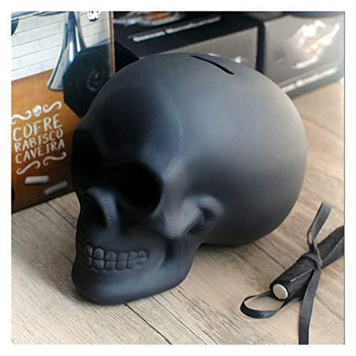 Changskj Hucha Negro Cráneo Piggy Bank DIY Tiza Doodling Adornos de cerámica Halloween Decoración de Halloween Regalos para niños (Color : Black)