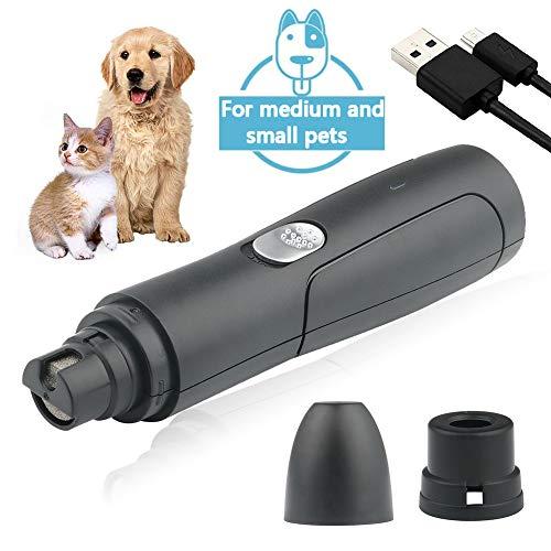 JTENG Krallenschleifer für Hunde und Katzen, Nagelschleifer Krallenpflege, USB Wiederaufladbar Geräuscharm Kabelloser Krallenpflege Für Mittlere und Kleine Haustiere