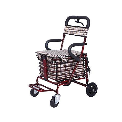 DNSJB Senioren Walker/Trolley/winkelmandje Can Sit Old Man Travel hoogwaardig stalen vouwauto afmetingen: 53 x 45 x 90 cm