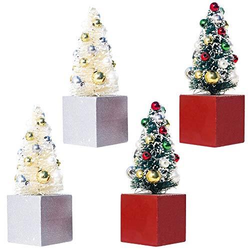 Weihnachtsbaum Tischplatte,4 Stück Mini Weihnachtsbaum mit Weihnachtskugeln Miniatur Weihnachtsbaum Dekorationen für Tisch mit Holzbasen für Weihnachten Weihnachten Weihnachtsfeier Home Decor