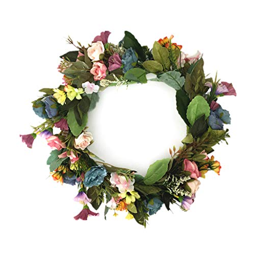 Cgration Künstlicher Blumenkranz in gemischten Farben, Frühlingskranz für den Außenbereich für Haustür Wand Fenster Party Hochzeit Dekor