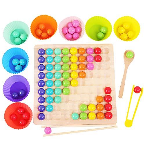 Joyhoop Wooden Rainbow Ball Elimination Game Kinder Erwachsene Interaktion Puzzle Schach Brettspiele Set mit Clip Löffel Weihnachten Geburtstagsgeschenk für Jungen Mädchen.
