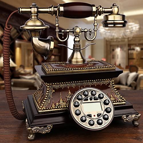 EASYTAO TeléFono Fijo Vintage de Bronce,TeléFono de Escritorio para Oficina en Casa,Decoracion casa Vintage,Puede Volver a Marcar y Rotar Diales,para la DecoracióN del Bar CAF(Color:Dial de Botones) ⭐