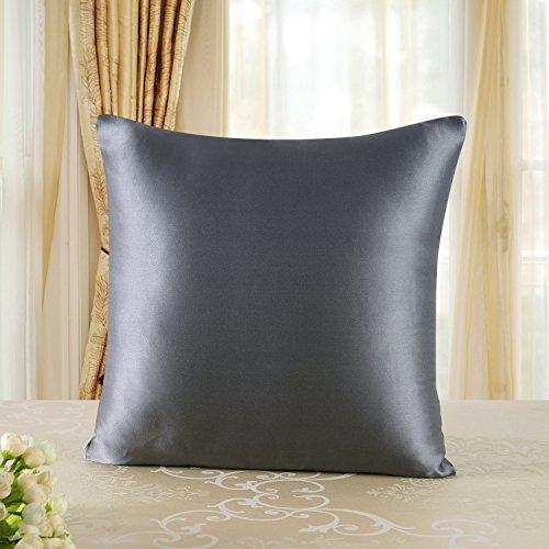 Townssilk Taie d'oreiller 100 % en soie des deux côtés (19 mm) avec fermeture éclair dissimulée, Soie Polyester Coton, Gris foncé, 65x65cm