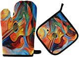 MODORSAN Music Rhythm Oven Mitts Potholders Set Resistant Hot Pads with Polyester Non-Slip BBQ Gloves for Kitchen,Cooking,Baking,Grilling