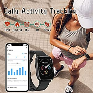 Smart Watch for Android Phones Compatible iPhone Samsung, Health Sport Watches for Men Women GPS Run Activity Fitness Tracker with Blood Pressure Heart Rate Monitor, Replaceable Watch Face and Band