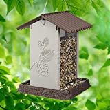 North States Village Collection Hopper Style Pinecone Birdfeeder: Squirrel Proof Hanging Cable included. Large, 4.25 pound Seed Capacity (8.13 x 8.13 x 11, Beige/Gray)