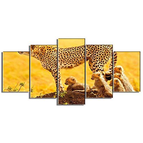 TJYEDUW Leinwanddrucke HD-Druck 5 Panel Material Gemälde Moderne Kunst Malerei Home Hintergrund Dekoration Leopard Familie