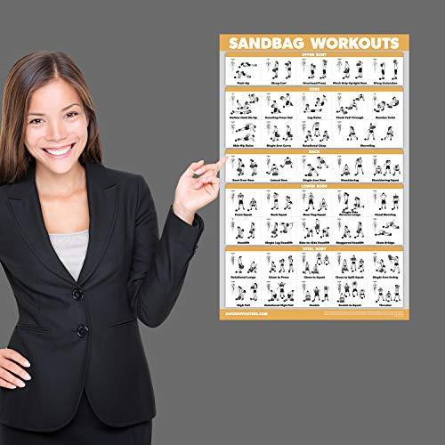 "QuickFit Sandbag Exercise Workout Poster - Laminated - Sand Bag Training Chart - 18"" x 27"""