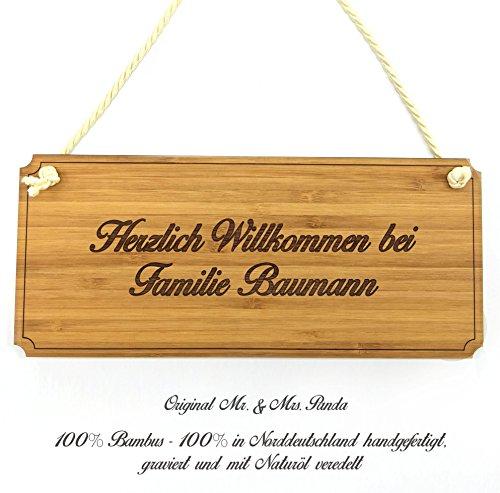 Mr. & Mrs. Panda Türschild Nachname Baumann Classic Schild - 100% handgefertigt aus Bambus Holz - Anhänger, Geschenk, Nachname, Name, Initialien, Graviert, Gravur, Schlüsselbund, handmade, exklusiv