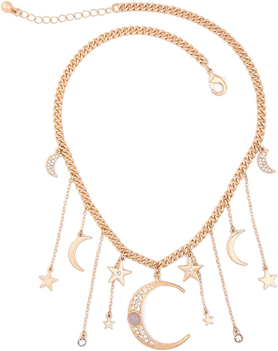 Feximzl Fashion Crystal Moon&Star Necklaces Pendants Unique Gold Color Chain Necklace Accessories Jewelry for Women