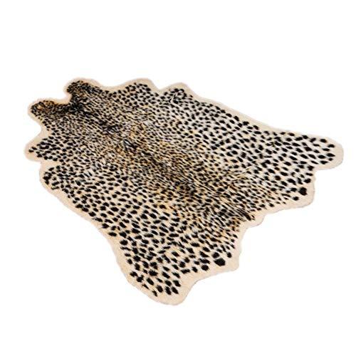 Leo565Tom Alfombra para salón de Leopardo, 100 x 94 cm, Alfombra para Mesa de café, Sala de Estar, Dormitorio Artificial, Felpa, diseño Moderno y cómodo