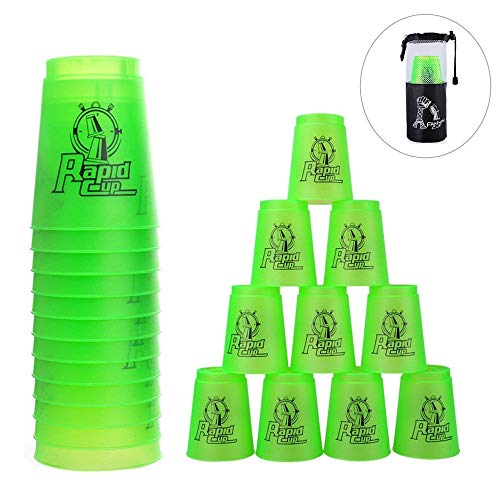 Quick Stacks Cups 12er Pack Sport-Stapelbecher Speed-Trainingsspiel Challenge Competition Party-Spielzeug mit Tragetasche (Grün)