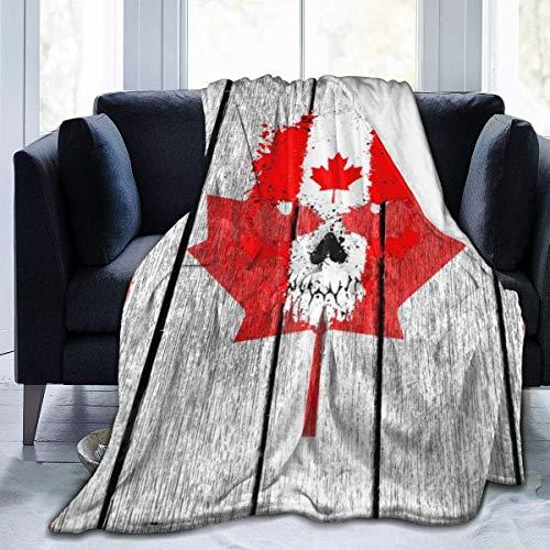 not applicable Fleece-Wolldecke Kanada-Flagge auf Alten Holz genähten Rand-gemütlichen Decken Plüsch-thermischer tragbarer Teppich für Bett-Couchsofa