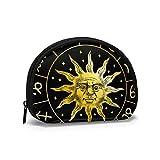 Zodiac Sun Icon Astrology Horoscope with Signs Mujeres Niñas Shell Cosmético Maquillaje Bolsa de Almacenamiento Monedas de Compras al Aire Libre Monedero Organizador