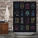 C COABALLA Pet Care Products & Tips Neon StyleIcon Set - - USA,Shower Curtain Domestic Cat Bathroom Decor Set with Hooks 84''Wx72''H
