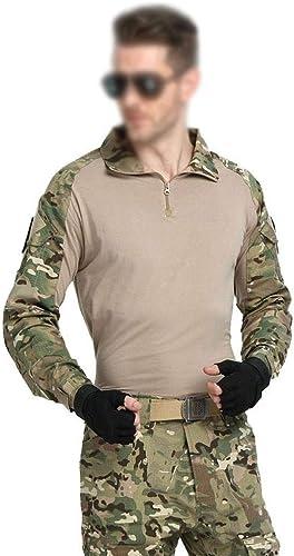 QIKAI VêteHommests Tactiques Camouflage Grenouille vêteHommests Costume Forces spéciales armée Fan armée du désert Costume Grenouille Costume de Camouflage Uniforme Beige- hauts s+ Pants 30
