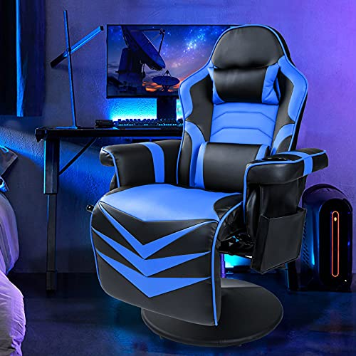 Massage Gaming Recliner Ergonomic Gaming Chair with Footrest Racing Computer Desk Office Chair Swivel w/Adjustable Backrest and Height High Back PU Leather Swivel Reclining Chair,Blue