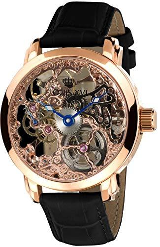 LOUIS XVI Herren-Armbanduhr Versailles Roségold Handaufzug Automatik Skeleton Analog echtes Leder Schwarz 333