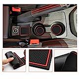 LFOTPP Seat Ibiza Typ 6F Alfombrillas Antideslizantes de Goma, Posavasos Alfombra Apoyabrazos Coche Interior Accesorios 9 Piezas (Rojo)
