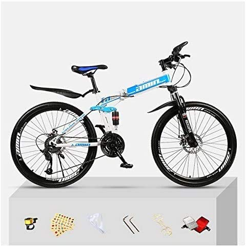 YAOJIA Folding bycicles adult bike Folding Mountain Bike Unisex | Dual Suspension 30 Speed Shock-Absorbing Off-Road Folding City Bicycle trek road bike (Color : Blue and White, Size : 26 inches)