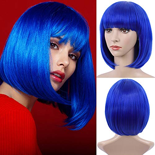 E-FOREST Blue Wig Short Bob Wigs with Bangs for Women Straight Hair Wig Synthetic Party Wigs for Women Girls 12 Inch Colorful Wigs, Blue