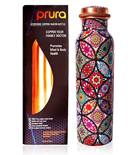 PRURA - Botella para agua de cobre, recipiente de cobre puro ayurvédico a prueba de fugas, color Diseño 13, tamaño 900ml/30oz, volumen 900.0milliliters