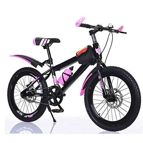 HUAQINEI Children Bicycles 20/22 /24 Inch Mountain Bikes Student Outdoor Sports Bike Boy And Girl Single Speed Disc Brake Pedal Bike,Pink,20
