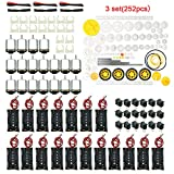 EUDAX 18 Set DC Motors Kit,Mini Electric 1.5-3V 24000RPM Hobby Motor with 252Pcs Plastic Gears,2 x AA Battery Holder ,Wires for STEM DIY Toy