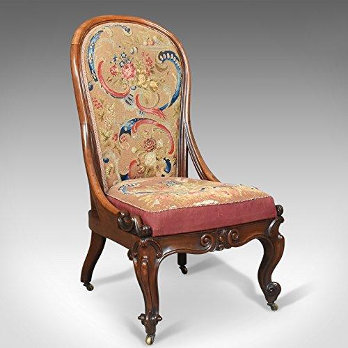 London Fine Antiques Antiguo sillón de Lactancia, Inglés, de Madera de Nogal de Tapiz Victoriano Circa 1840