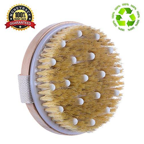 Dry Skin Body Brush dry wet body Natural Bristles Shower Bath Brush - Improves Skin's Health...