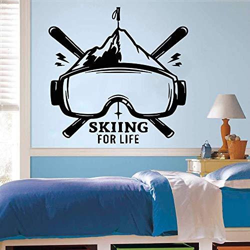 Skiing Is Life Quotes Ice Snow Deportes de invierno Logo Gafas Tabla de esquí Etiqueta de la pared Vinilo Art Decal Boy Fans Dormitorio Sala de estar Club Studio Decoración para el hogar Mural