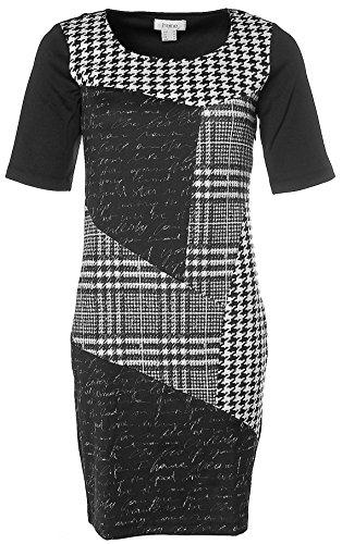 Heine Damen Patchkleid Strickkleid Strick Patchwork Kleid 1/2 Arm Schwarz 36